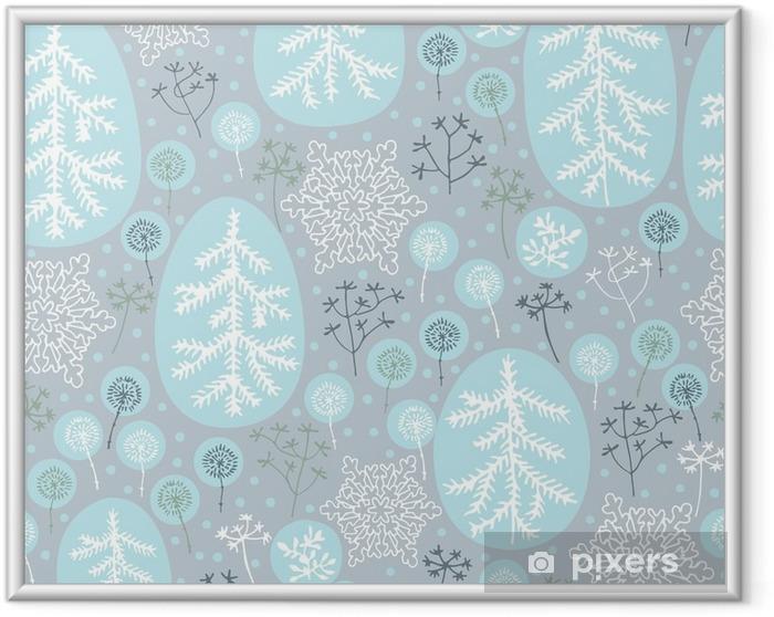 Ingelijste Poster Winter naadloze patroon - Landschappen