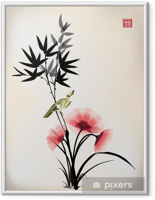 Poster in Cornice Stile dell'inchiostro cinese disegno fiore uccello - Criteo