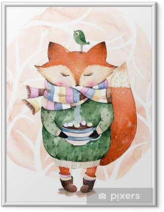 Póster Enmarcado Lindo zorro simplemente les gusta beber caliente coffee.Watercolor illustration.Fox y pájaro en watercolor.Perfect para cristmas y tarjeta de feliz año nuevo, tarjetas de felicitación, blog, patrón, la hora del té, invaitation, tarjetas de bebé - Animales