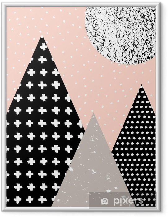 Plakát v rámu Abstraktní geometrické krajiny - Grafika