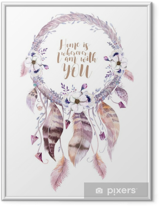 Plakát v rámu Izolované Akvarel výzdobě bohémský dreamcatcher. Boho feath - Rostliny a květiny