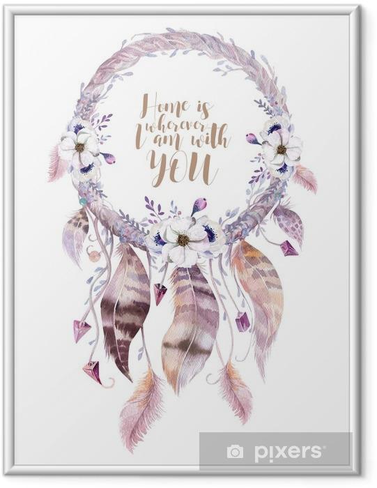 Plakat w ramie Izolowane Akwarela dekoracji artystycznej Dreamcatcher. Boho feath - Rośliny i kwiaty