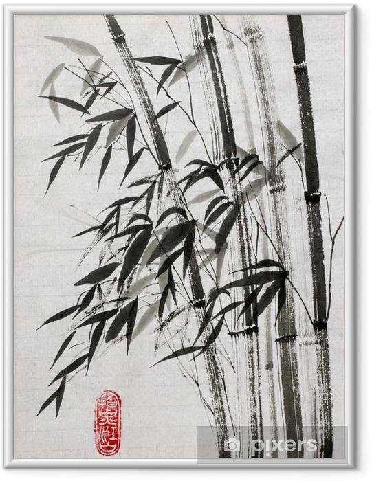 Poster i Ram Bambu är en symbol för långt liv och välstånd - Växter & blommor