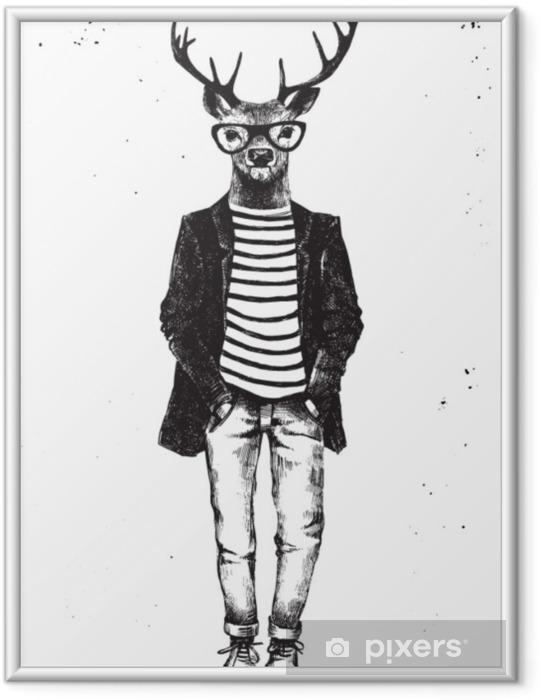 Plakat w ramie Ręcznie rysowane ubrane jelenia w stylu hipster - Zwierzęta