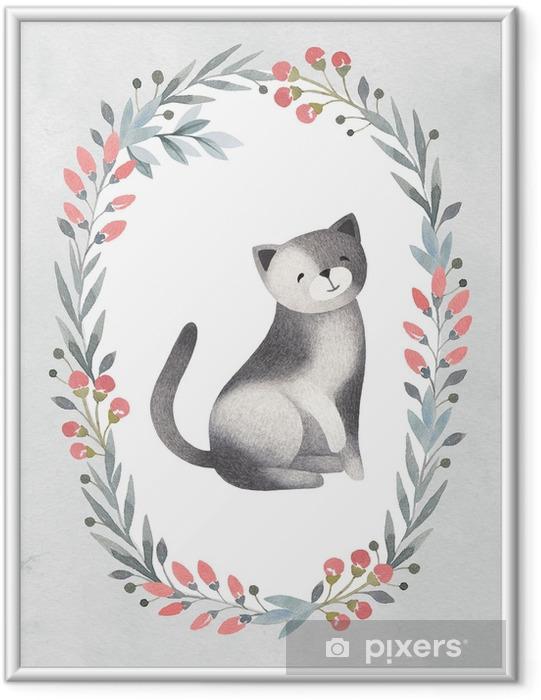 Plakat w ramie Akwarela ilustracja ładny kot. idealny do karty z pozdrowieniami - Zasoby graficzne