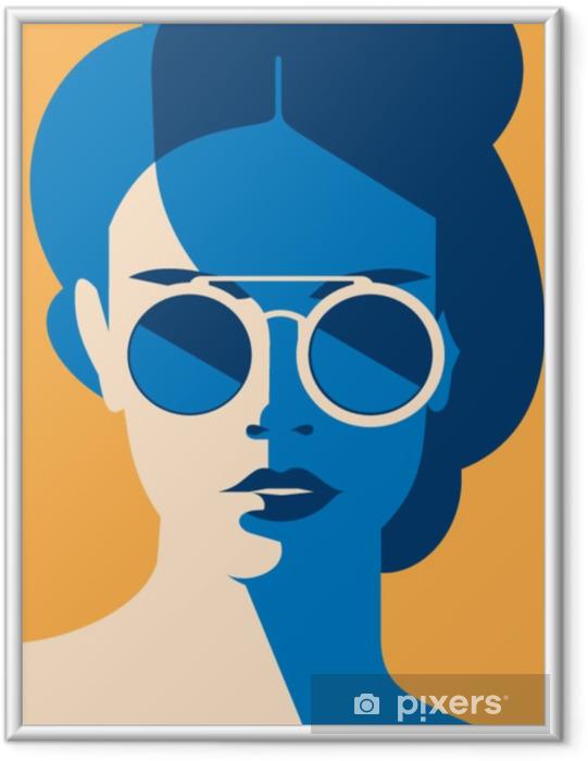 Plakat w ramie Moda portret model dziewczyny z okulary. retro modne kolory plakatu lub ulotki. - Styl życia