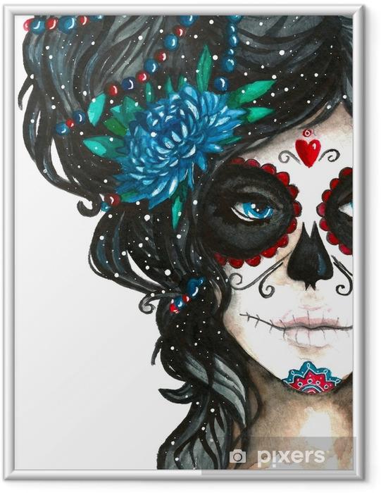 Plakat w ramie Meksykański catrina scull ilustracji w stylu przypominającym akwarele. Dzień de los muertos. Halloween plakat tło, karty z pozdrowieniami lub inny projekt na białym tle - Religia i kultura