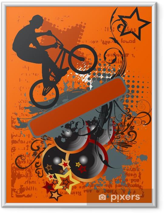 Ingelijste Poster Grunge fiets springen en Muziek - vectorillustratie - Wielersport