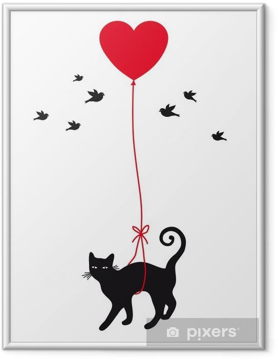 Plakat w ramie Kot z balonu serca, wektor - Styl życia