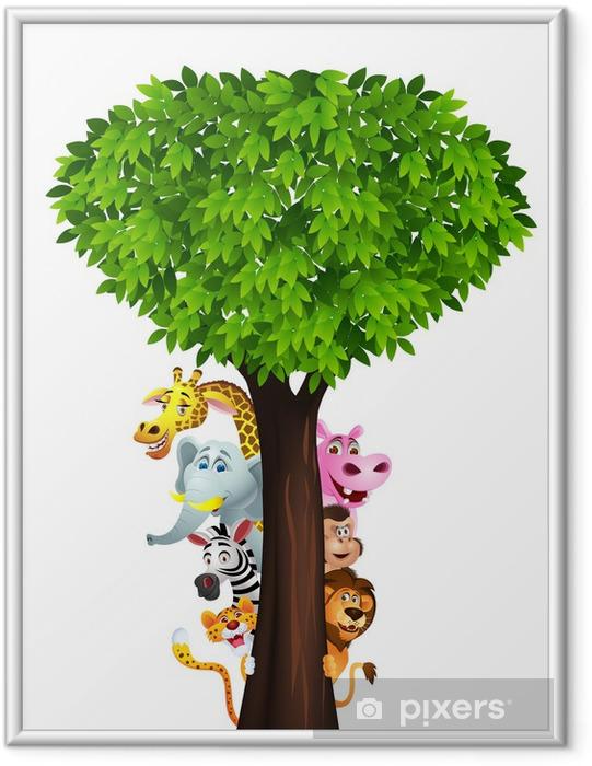 Ingelijste Poster Grappige safari dieren cartoon - Muursticker
