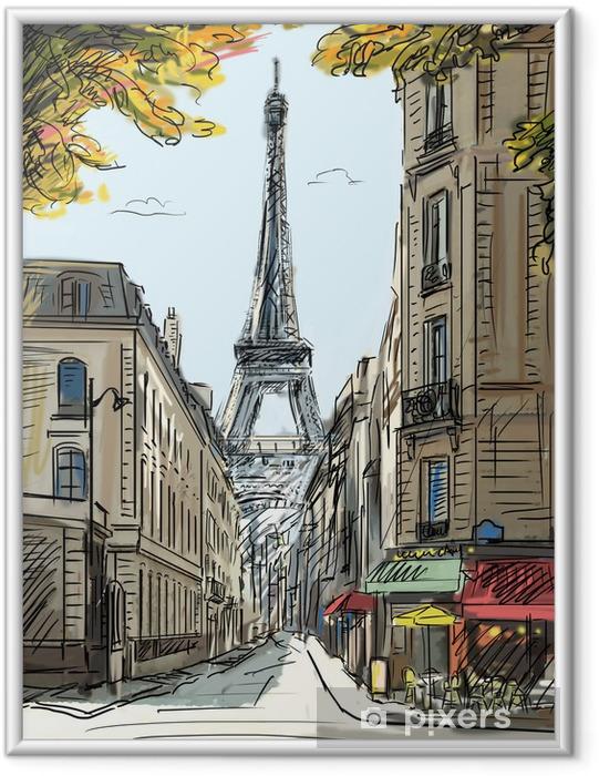 Poster en cadre Rue de Paris - illustration - Thèmes