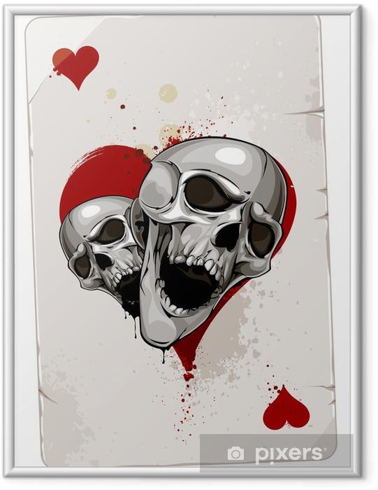 Póster Enmarcado Tarjeta del póker con los cráneos - Abstractos