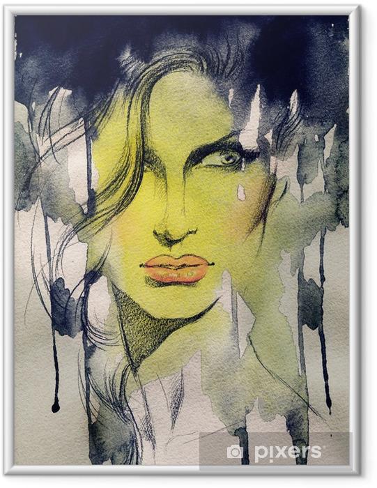 Plakat w ramie Piękna kobieto. ręcznie malowane ilustracji mody - Tematy