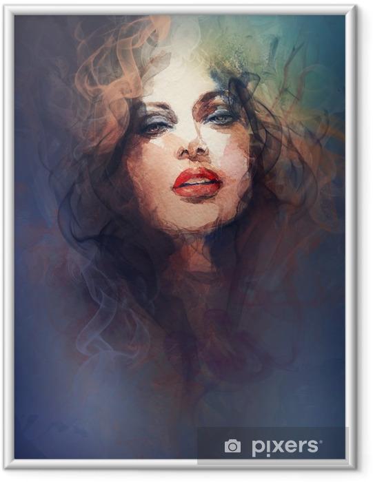 Póster Enmarcado Retrato de la mujer. acuarela abstracta. Fondo de la manera -