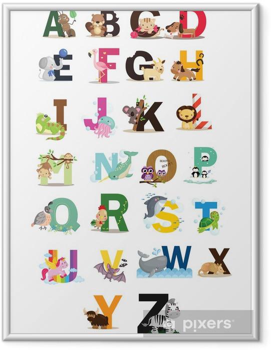 Eläin kirjain vektori asettaa Kehystetty juliste - Themes