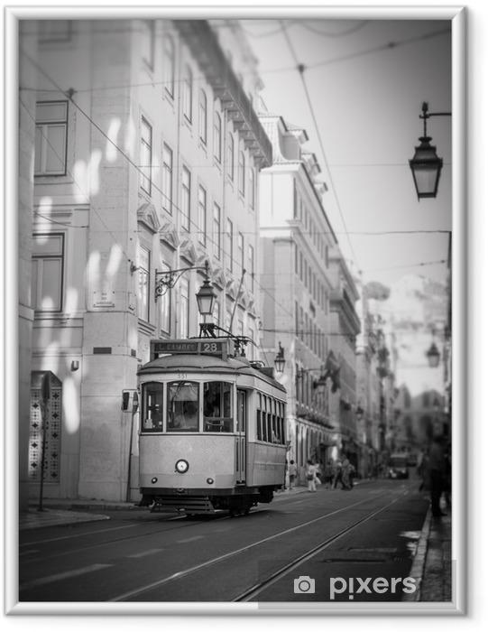 Ingelijste Poster Tram in Lissabon, retro - Onderweg