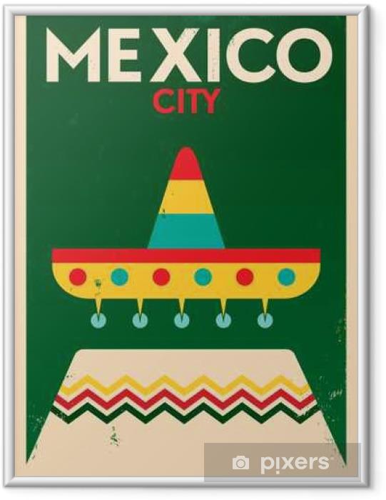 Gerahmtes Poster Mexiko-Weinlese-Plakat-Entwurf - Gebäude und Architektur