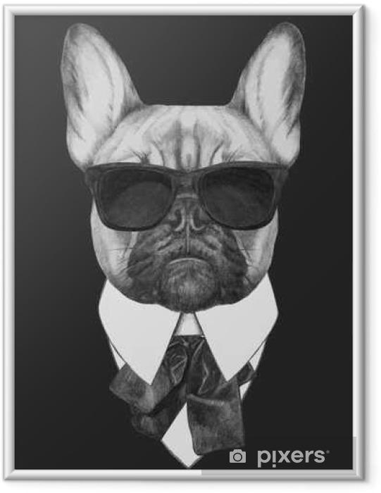 Póster Enmarcado Mano de moda dibujado Ilustración de Bulldog Francés. Vector aislados elementos. - Animales