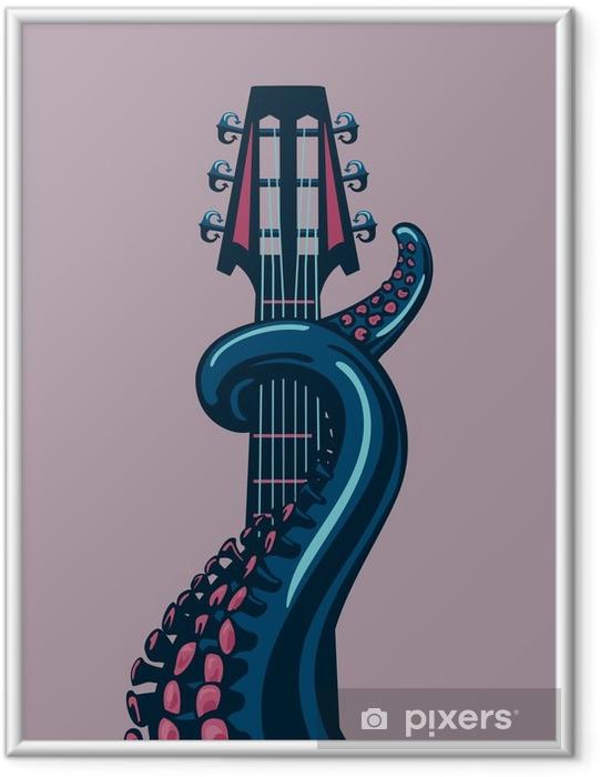 Poster en cadre Octopus tentacule tient un riff de guitare. - Passe-temps et loisirs