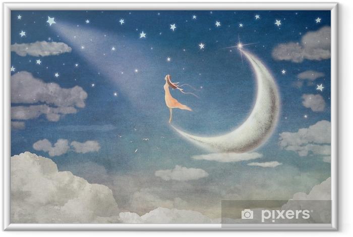 Ingelijste Poster Meisje op maan bewondert de nachtelijke hemel - illustratie kunst - Gevoelens, Emoties en Staten van Geest