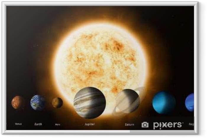 Ingelijste Poster Zon en de planeten van het zonnestelsel - Wetenschap