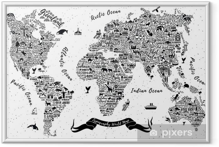 Ingelijste Poster Typografie wereldkaart. - Religie en Cultuur