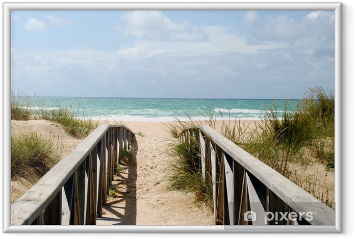 Poster en cadre Passerelle à la plage - Été