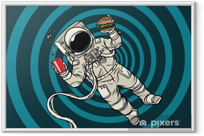 Plakat w ramie Astronauta w zerowej grawitacji z fast foodami - Jedzenie