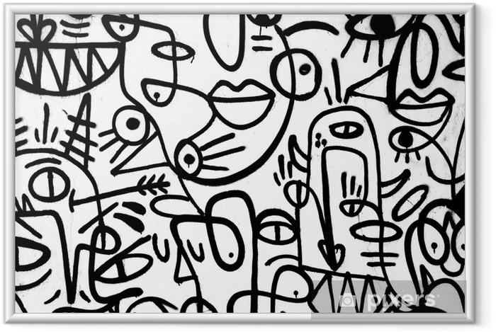 Plakat w ramie Czarno-białe graffiti wzór na wall.spain, jerez, styczeń 2018. ciekawe tła - Zasoby graficzne