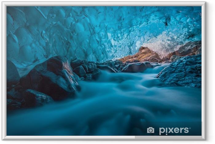 Poster en cadre Grotta di ghiaccio azzurro avec ruscello sottostante islanda europa - Ressources graphiques