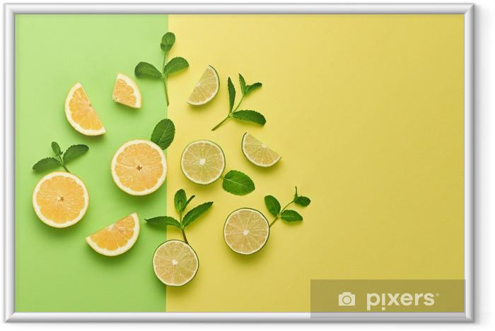 Çerçeveli Poster Vegan organik gıda kavramı. nane ile portakal narenciye limon taze meyve bırakır. yaratıcı düzen Düz yatıyordu. modaya uygun moda stili. minimal tasarım sanatı. sıcak yaz vibes. parlak renk. - Yiyecek