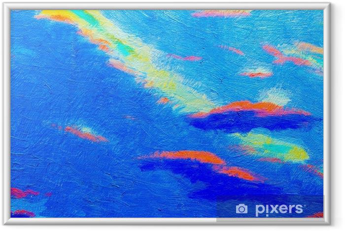 Ingelijste Poster Abstracte blauwe kleur textuur. - Landschappen