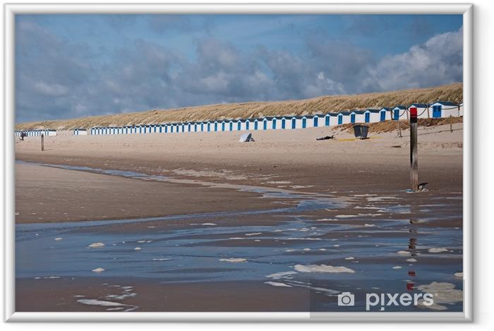 Ingelijste Poster Strandhuisjes op Texel - Vakantie