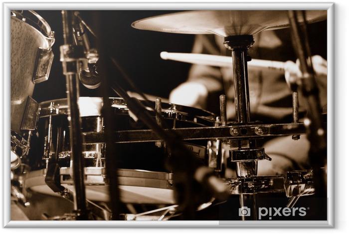 Póster Enmarcado Batteur sur scene - Jazz