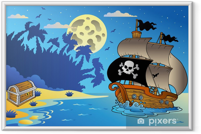 Póster Enmarcado Noche paisaje marino con un barco pirata -