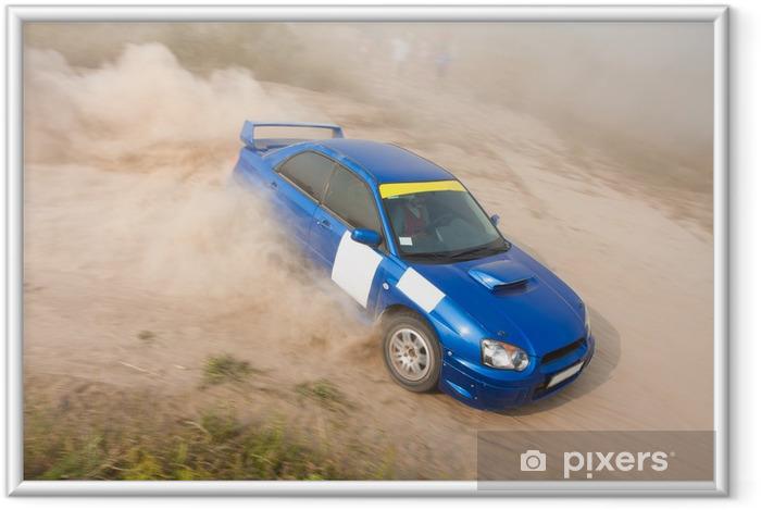 Plakat w ramie Niebieski samochód rajdowy - Sporty ekstremalne