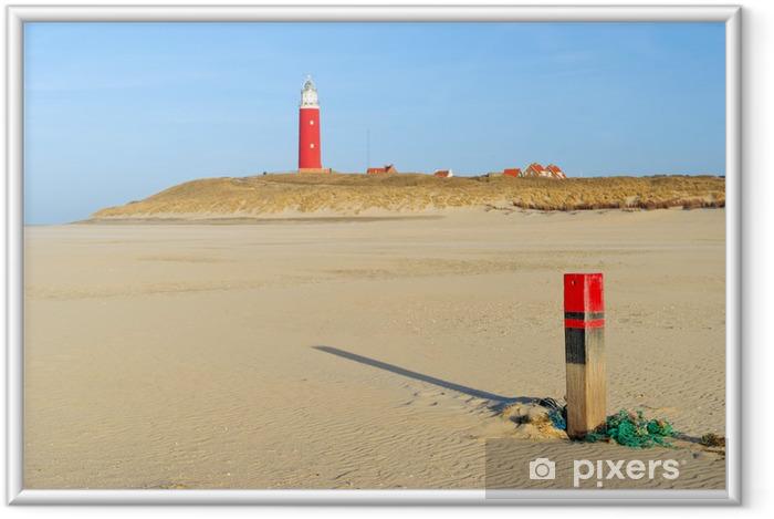 Ingelijste Poster Visnet en paal aan het strand - Vakantie