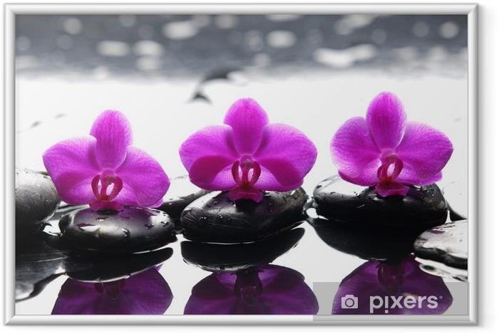 Póster com Moldura Three zen stones and three orchids with reflection - Temas