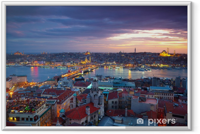 Ingelijste Poster Sunset Panorama Istanbul - Thema's