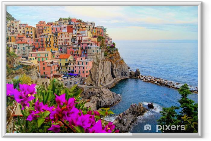 Plakat w ramie Cinque Terre wybrzeża Włoch z kwiatami - Tematy