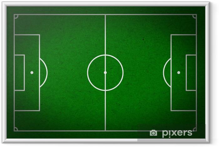Ingelijste Poster Soccer - voetbal veld met witte lijnen op papier grunge - Team sport