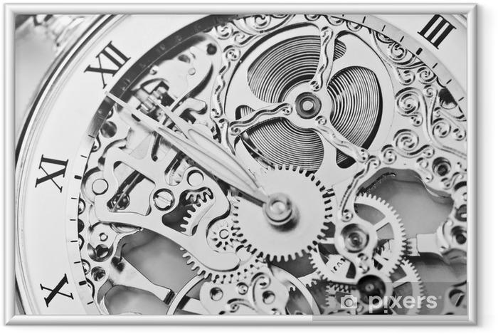 Poster i Ram Svartvit nära bild av klocka mekanism - Klockor