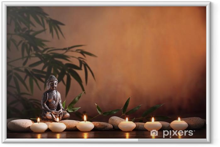 Ingelijste Poster Boeddha met brandende kaars en bamboe - Boeddhisme