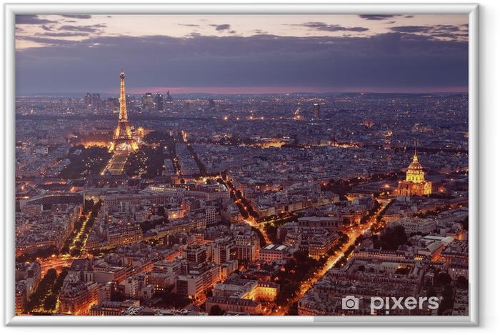 Poster en cadre Vue de nuit de Paris. -