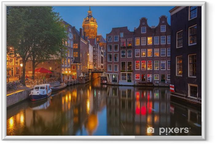 Amsterdam om natten Indrammet plakat -