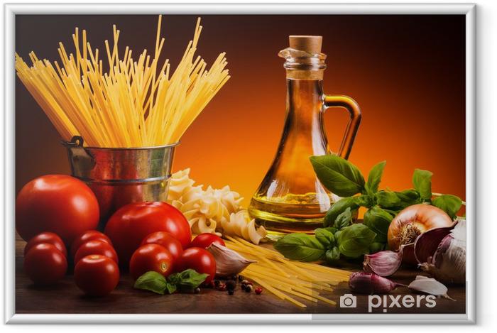 Poster en cadre Pâtes et légumes frais - Thèmes
