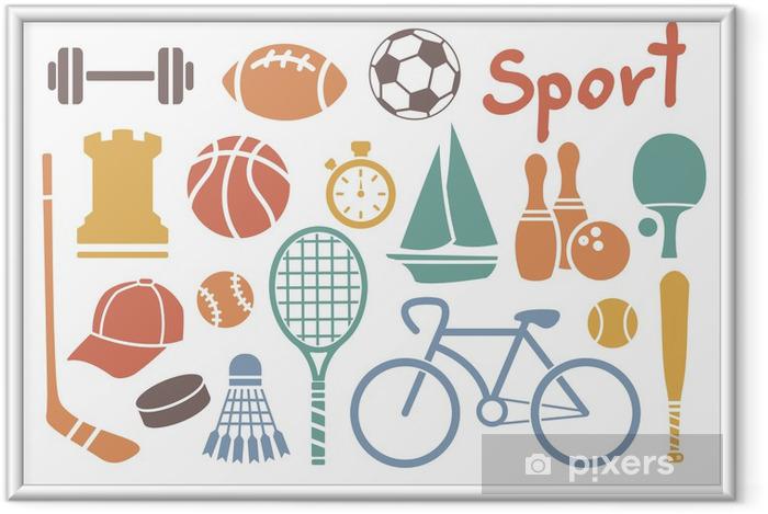 Plakat w ramie Zestaw ikon sportowe - Tematy