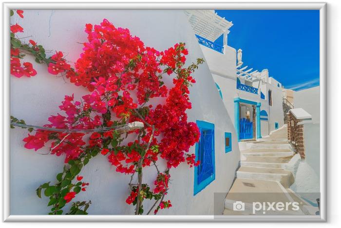 Plakat w ramie Grecja wyspa Santorini, Cyklady, tradycyjny widok białego w. - Tematy
