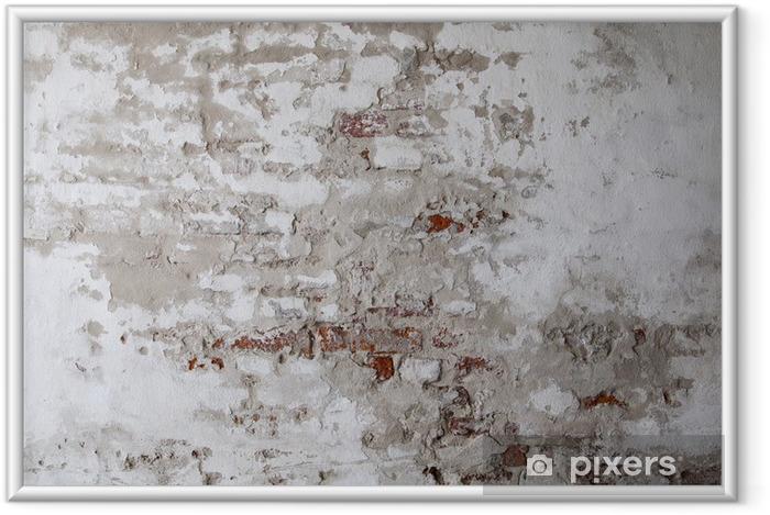 Poster i Ram Old Red Brick Wall med sprucken betong - Teman