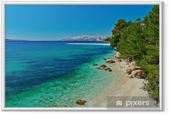 Plakat w ramie Piękne Morze Adriatyckie, zatoka z sosnami w Chorwacji - Tematy